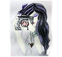 Violet the Vampire with Camera Pastel Drawing Poster