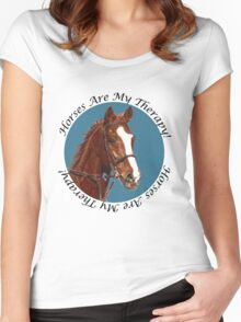 Horses Are My Therapy! T-Shirts & Hoodies Women's Fitted Scoop T-Shirt