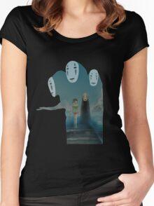 Kaonashi And Ogino Chihiro Spirited Away | Sen To Chihiro No Kamikakushi Women's Fitted Scoop T-Shirt