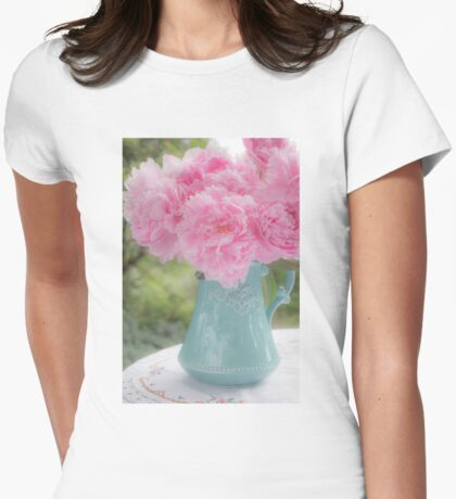 Pitcher of Peonies Womens Fitted T-Shirt