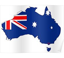 Australia Map with Australian Flag Poster
