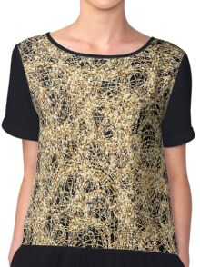 Gold Thread on Black Abstract Chiffon Top