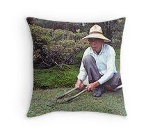 Japanese gardener, Kyoto,Japan. Throw Pillow