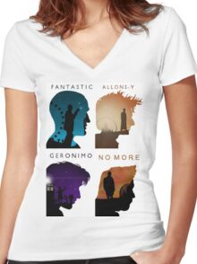 The Four New Doctors( Doctor Who) Women's Fitted V-Neck T-Shirt