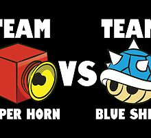 Team super horn vs team blue shell by Lauramazing