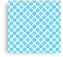 Retro Pastel Blue Circles Canvas Print