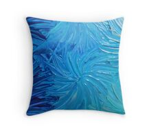 WATER FLOWERS 2 - Stunning Ocean Beach BC Waves Floral Abstract Acrylic Painting Turquoise Blue Throw Pillow