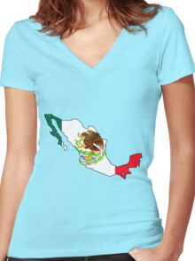 Mexico Map with Mexican Flag Women's Fitted V-Neck T-Shirt