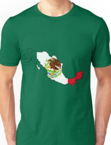 Mexico Map with Mexican Flag Unisex T-Shirt