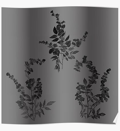 Black on gray, tiny flowers Poster