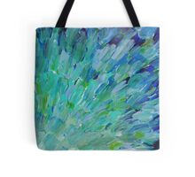 SEA SCALES - Beautiful BC Ocean Theme Peacock Feathers Mermaid Fins Waves Blue Teal Abstract Tote Bag