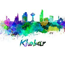 Khobar skyline in watercolor by paulrommer