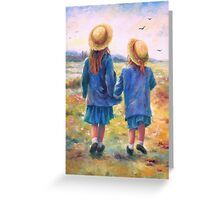 TWO SISTERS HAND IN HAND Greeting Card