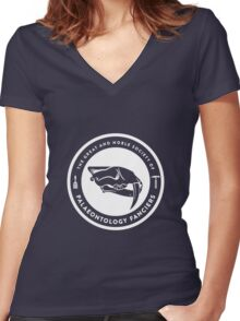 The Society of Palaeontology Fanciers (White on Dark) Women's Fitted V-Neck T-Shirt