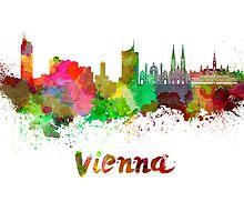 Vienna skyline in watercolor by paulrommer