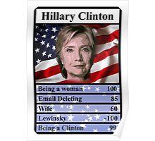 Hillary Clinton Top Trump USA Presidential  Election 2016 Poster
