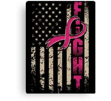 Fighting Flag T-Shirt Breast Cancer Awareness Shirts Canvas Print