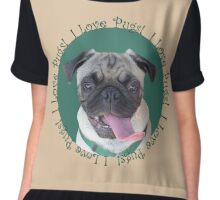 Cute I Love Pugs! T-Shirt or Hoodie Chiffon Top
