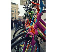 colourful bicycles in Buyukada Istanbul Photographic Print