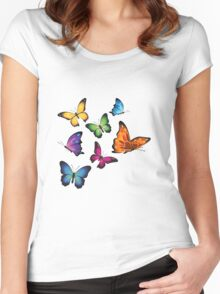 Colourful Butterflies Women's Fitted Scoop T-Shirt