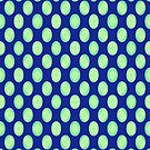 Green Yellow Retro Circles on Blue by donnagrayson