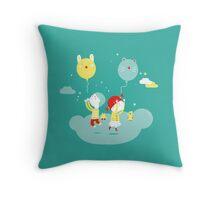 Kids and balloon Throw Pillow