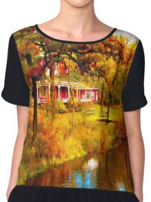 House on Pine River,Wisconsin U.S.A. Chiffon Top