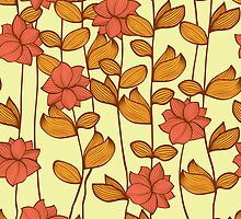 Orange flowers by Patternalized