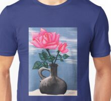 PINK ROSE IN GRAY VASE ON SNOW Unisex T-Shirt