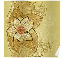 Vintage magnolia flower Poster
