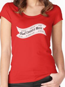Real Country Music (white ink) Women's Fitted Scoop T-Shirt