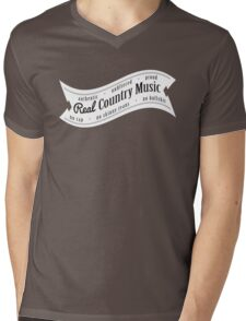 Real Country Music (white ink) Mens V-Neck T-Shirt
