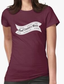 Real Country Music (white ink) Womens Fitted T-Shirt