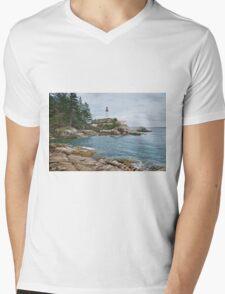 Point Atkinson Lighthouse and Rocky Shore Mens V-Neck T-Shirt