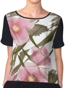 Seamless pattern floral . Pink flowers. Chiffon Top