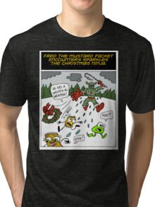 Fred the Mustard Packet Encounters Sparkles the Christmas Ninja. Tri-blend T-Shirt