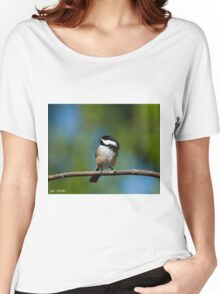 Black Capped Chickadee Perched on a Branch Women's Relaxed Fit T-Shirt