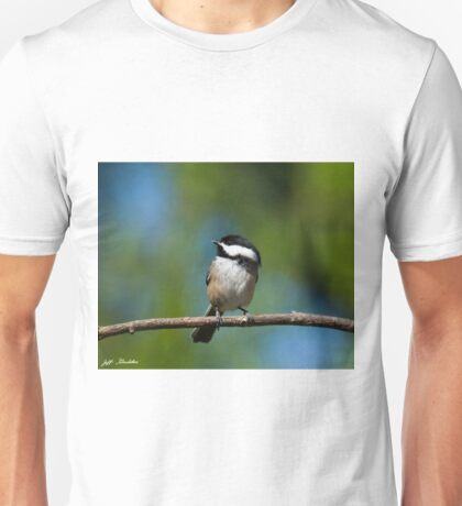 Black Capped Chickadee Perched on a Branch Unisex T-Shirt