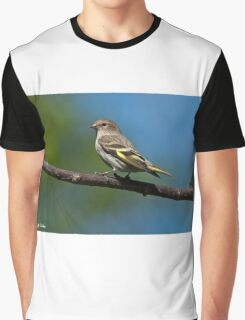 Pine Siskin Perched on a Branch Graphic T-Shirt