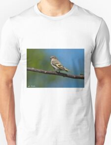 Pine Siskin Perched on a Branch Unisex T-Shirt