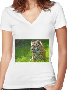 Portrait of a Sumatran Tiger Women's Fitted V-Neck T-Shirt