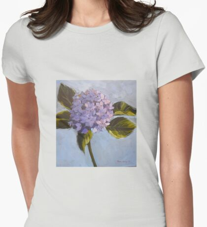 Blue hydrangea. Acrylic Elizabeth Moore Golding 2009 Womens Fitted T-Shirt