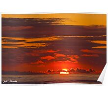 Sunset Over the Pacific Ocean Poster