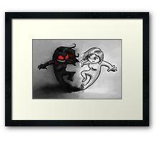 Painted Yin and Yang Chibi Cartoon Framed Print