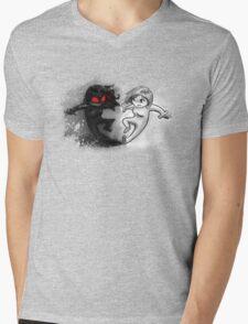 Painted Yin and Yang Chibi Cartoon Mens V-Neck T-Shirt
