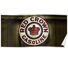 1920's Vintage Red Crown Gasoline Sign Poster