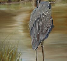 Great Blue Heron At Half Moon Island by Phyllis Beiser