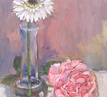 Pink Rose and Daisy by Deborah Pritchett