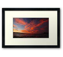 wild autumn sunset. waubs bay, bicheno, tasmania Framed Print