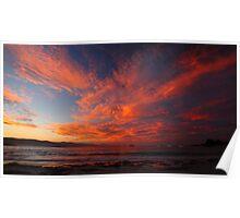 wild autumn sunset. waubs bay, bicheno, tasmania Poster